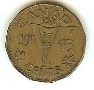 1943 Canada 5 Cents Tombac Victory Nickel World War 2